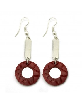 Bone Carving Round Red Earrings