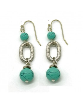 Green Glass Beads Earrings