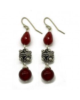 Coral Glass Beads Hanging Earrings