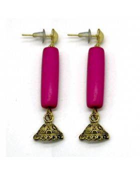 Pink Long Bone Earrings