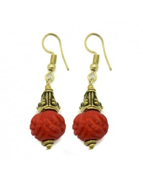 Red Bone Carving Earrings
