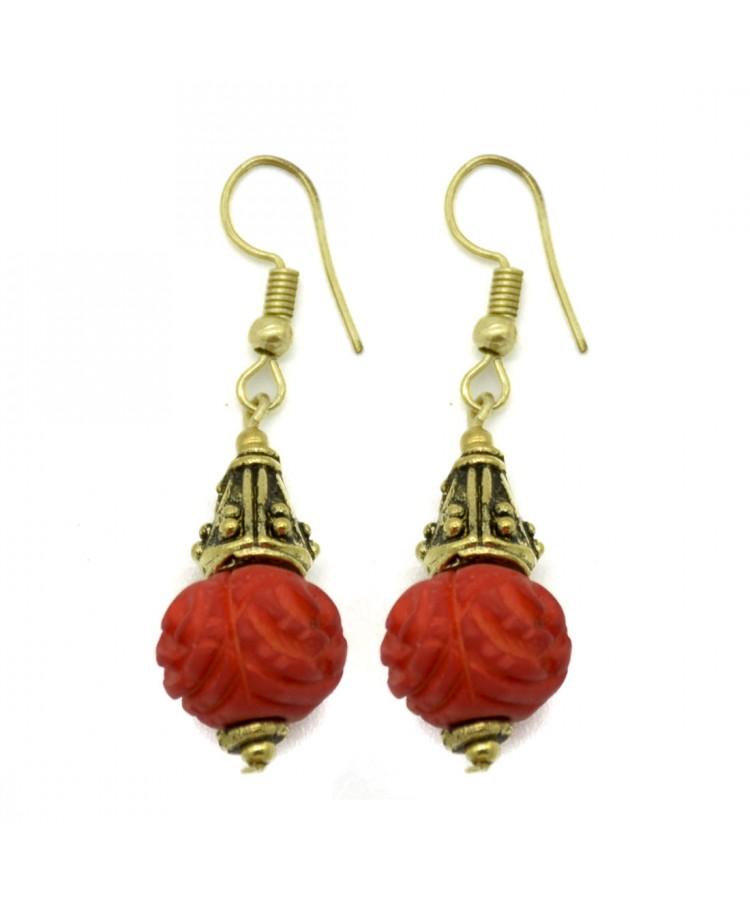 Red Bone Carving Earrings Global Artisans