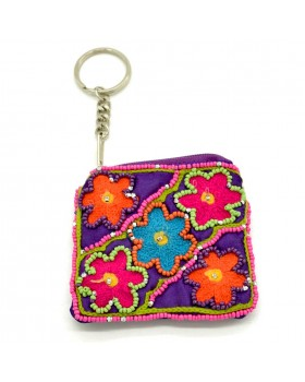 Beaded Floral Key Ring