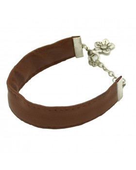 Leather Flower Charm Men Bracelet-Brown.main