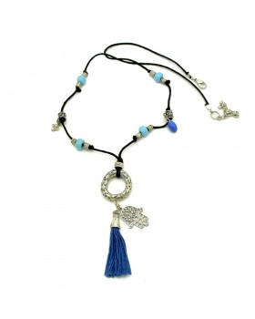 Turquoise Metal Beads Tassel Hand Charm Silver Oxidised Necklace