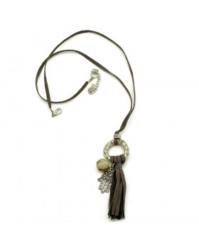 Grey Leather Dori Smoke Stone Hamsa Charm Necklace