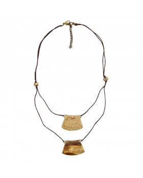 Bone Double Rows Gold Plated Tone Cotton Brown Thread Necklace,Nickel Free