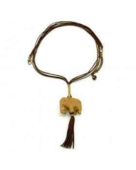 Wood Elephant Brown Cotton Dori Necklace