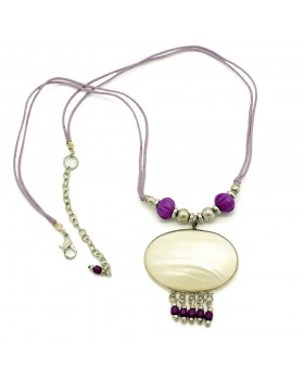 Oval Shell with Purple Beads