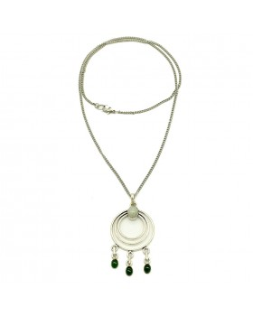 Green Onyx Silver Plated Chain