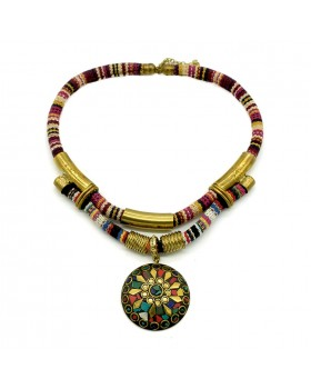 Cotton Fabric Multi Print Brass Necklace