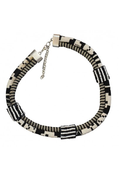 Black and White 2 Rows Cotton Fabric Necklace