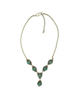 Round Green Onyx Long Chain Silver Oxidised Necklace