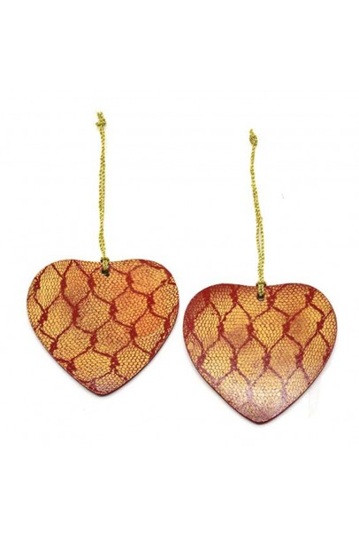 Heart Hand Painted Ornaments-Set of 2