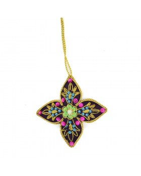 Embellished Flower Ornament-Black