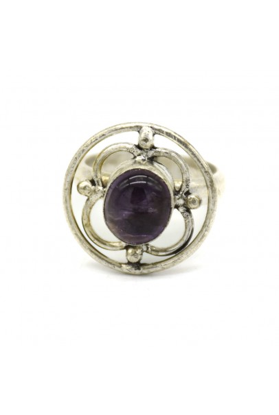 Amethyst Stone Net Silver Oxidised Finger Ring