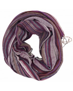 Purple Multed Print Viscose Thread Scarf