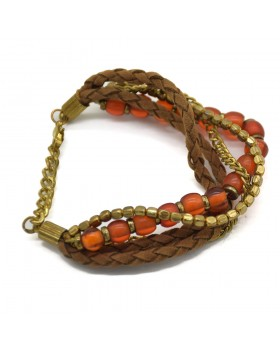 Brown Round Leather Brown Horn Beads Brass Beeds 4 Rows Gold Plated Bracelet