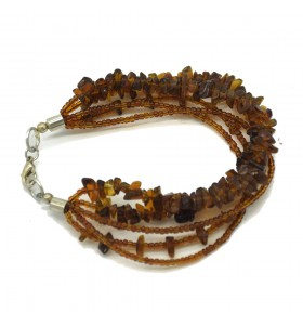 5 Rows Glass Beads Brown Bracelet