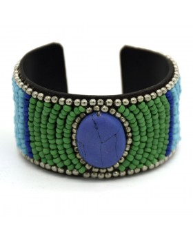 Multi Glass Beaded Stone Leather Cuff