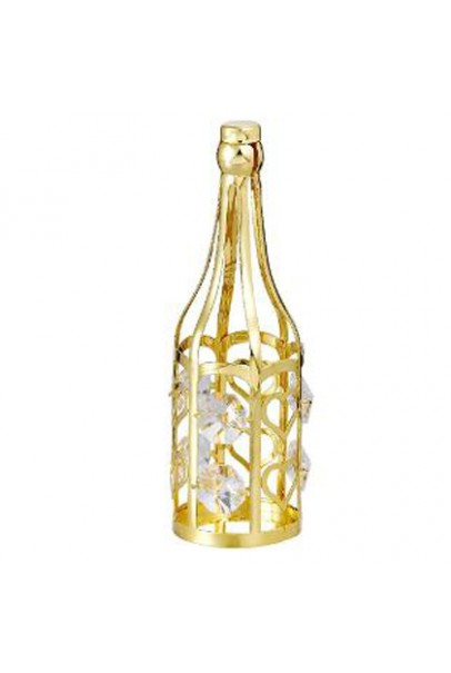 24K GOLD PLATED WINE BOTTLE STUDDED WITH SWAROVSKI CRYSTALS