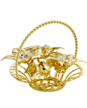 24K GOLD PLATED FLOWER BASKET