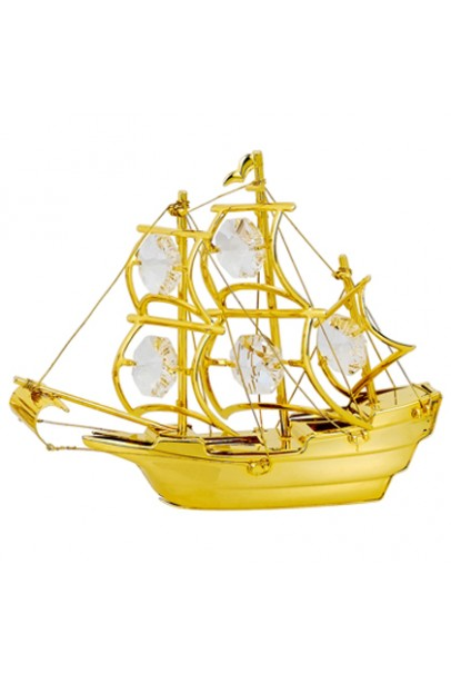 24K GOLD PLATED SAILING SHIP