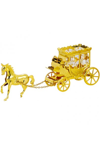 24K GOLD PLATED HORSE WITH CARRIAGE