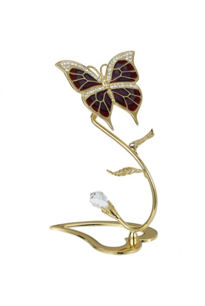 24K GOLD PLATED BUTTERFLY ON SPRING FLOWER