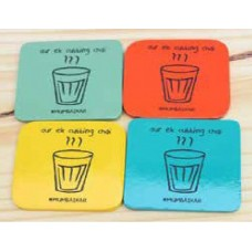 IVEI wooden Coloured coasters - Set of 4