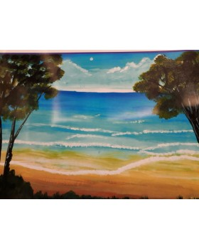 "Beach sunset -(Canvas) WITH FRAME(TIGAR)-11""X15"""