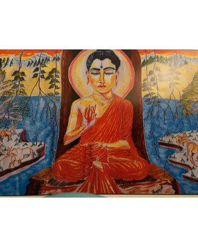 "Buddha in forest With Frame (Canvas) (8""X12"")"