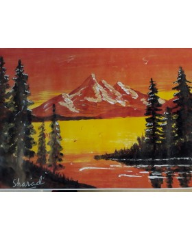 "Golden lake mountains (Canvas) with frame (11""X15"")"
