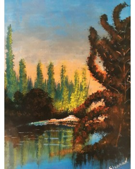 "coniferous forest lake (Paper) with frame (12""X18"")"