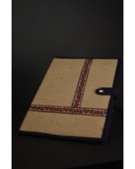 Jute folder with blue border