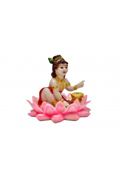 Hand Carved Baby Krishna Resin Idol Sculpture Statue for Home Office Pooja Ghar