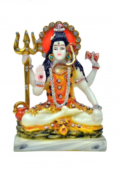 Marble Murti Lord Shiva in Blessing Posture on Tiger Decorated with Diamond Stone | Shiv Murti Idol | Statue