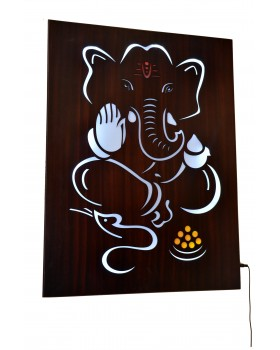 LED Wooden Lord Ganesha Frame with Electric Plugin